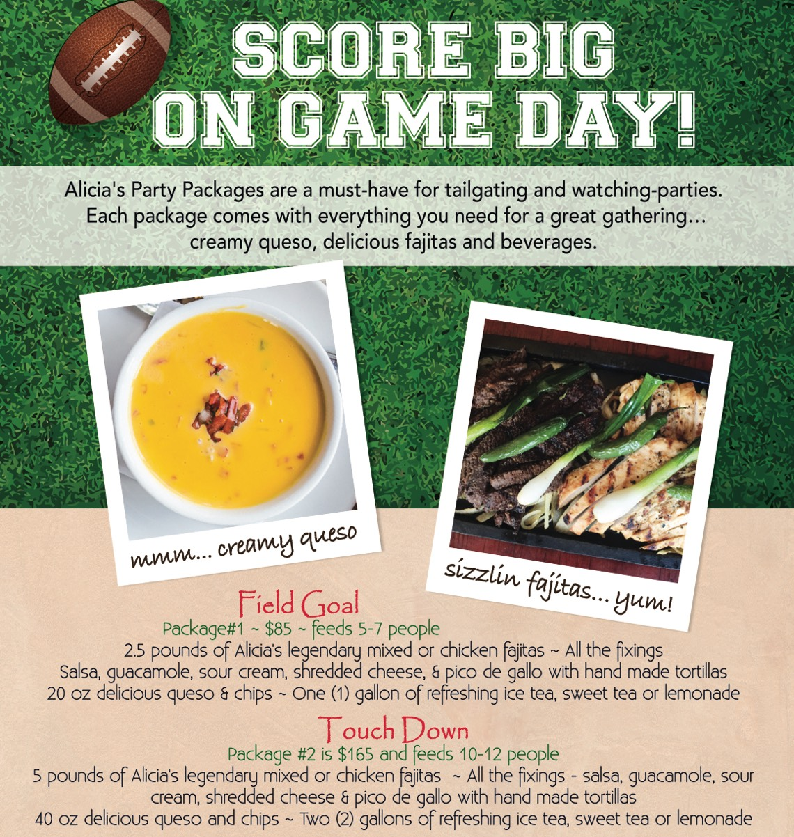 Football Party Packages available at Alicia's