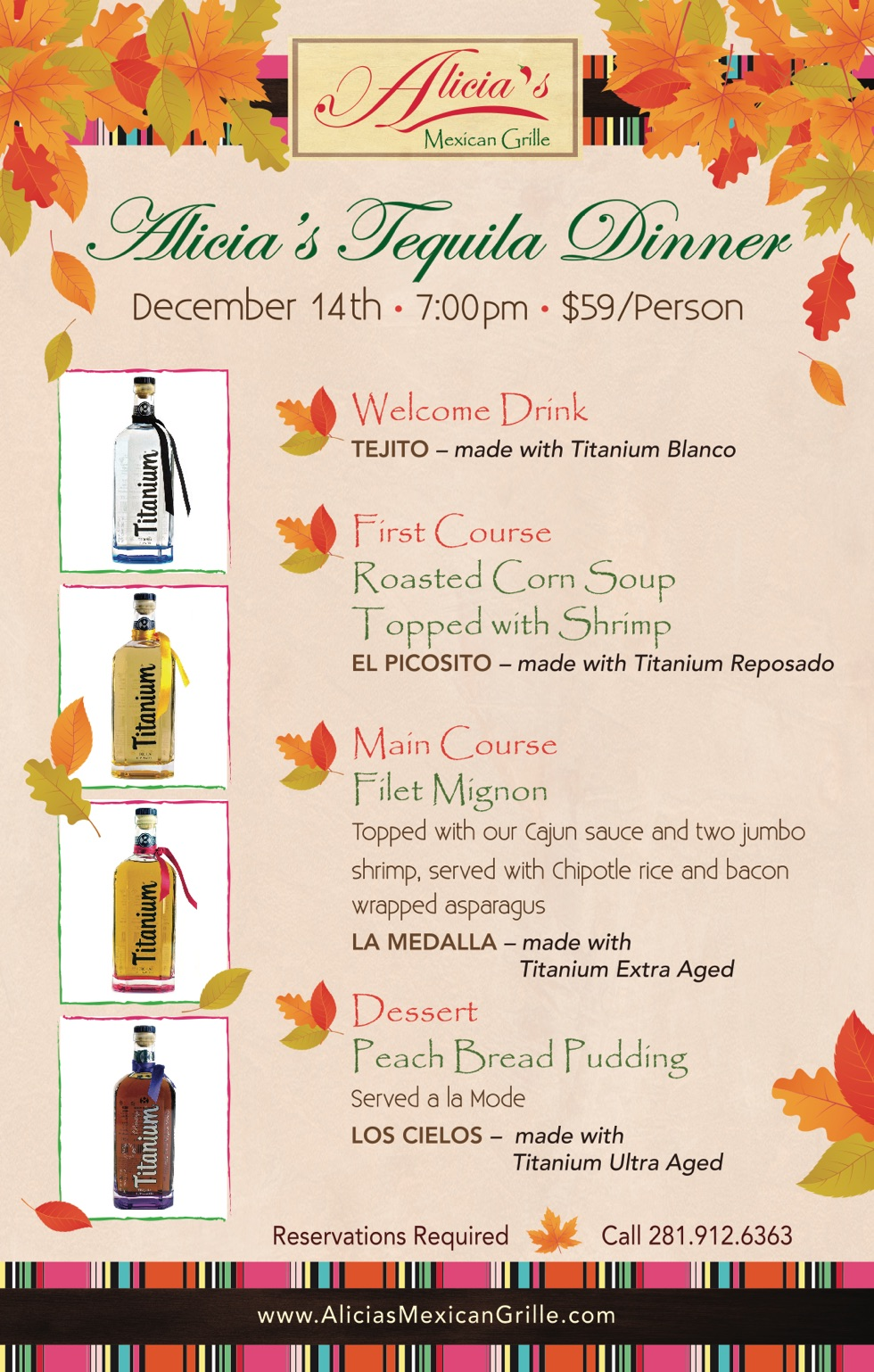 Alicia's Tequila Dinner at Sugar Land December 14th