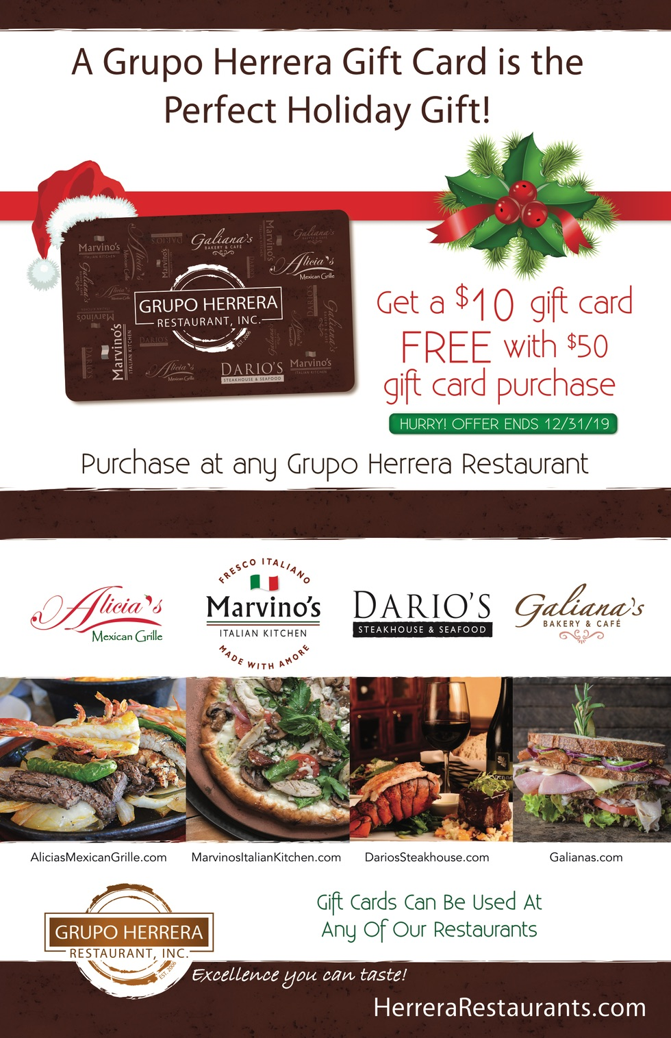 A Grupo Herrera Gift Card is the Perfect Holiday Gift!