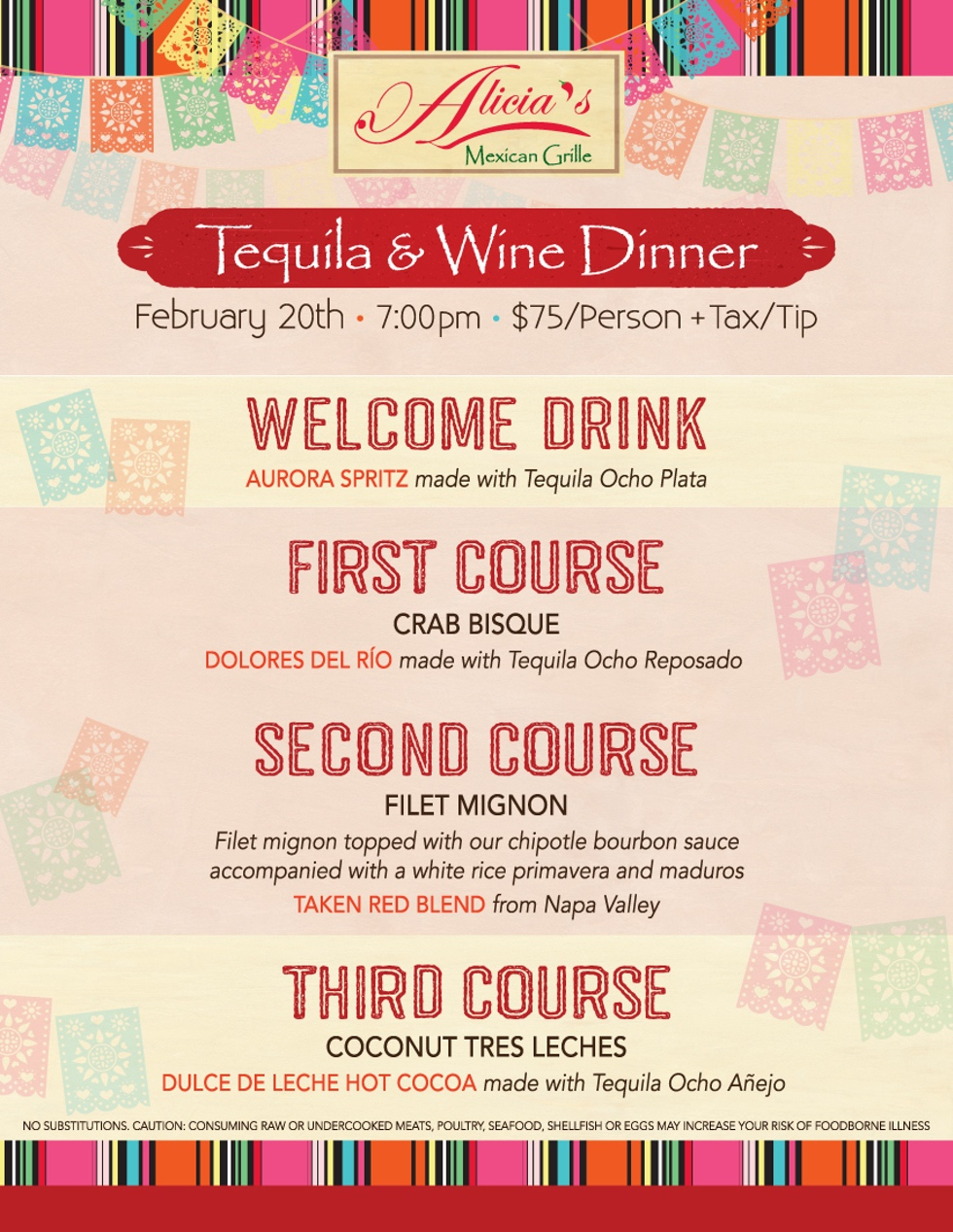 Alicia's Tequila Dinner at Sugar Land on February 20th