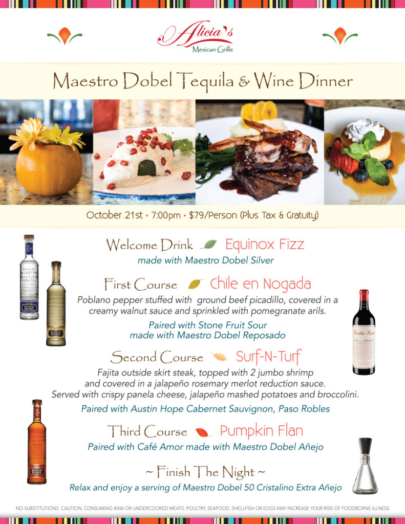 Cypress 10/21: Maestro Dobel Tequila & Wine Dinner