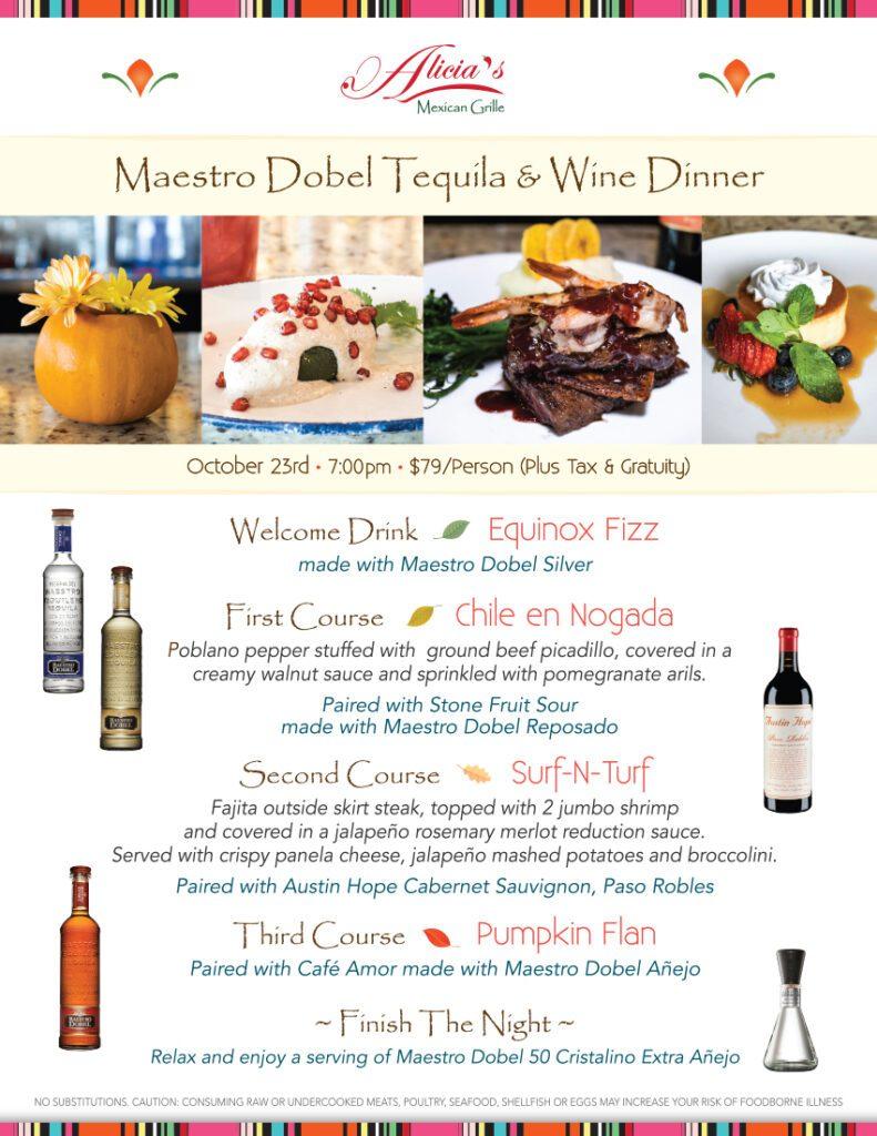 Menu - Maestro Dobel Tequila & Wine Dinner